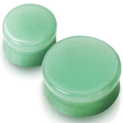 PAIR Green Jade Adventurine Plugs Semi-Precious Organic Stone Earlets Gauges