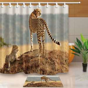 Image Is Loading Wild Animal Leopard Mom With Son Bathroom Fabric