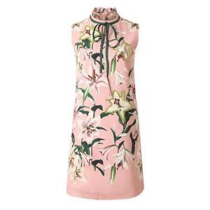Runway-New-2019-Women-Dress-Long-Tops-Beading-Print-Designer-Wholesale-Pink-Hot