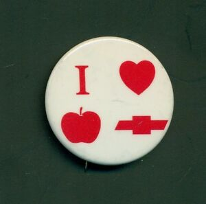 Exceptional Image Is Loading Vintage I Love Apple Chevrolet Pinback Button York