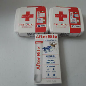 3 Piece Johnson & Johnson 2 Mini First aid Kits & After Bite Cream for Bees Bugs