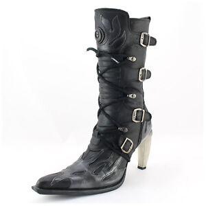 New Rock Stiefel Gr. 41 Malicia schwarz/grau Flames Echtleder (#3081)