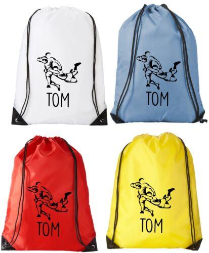 Personalised Rugby Drawstring  Bag PE Kit Sack Sports Kids