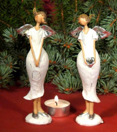 Engel Dagmar weiß silber Tischdeko Weihnachtsdeko 17cm