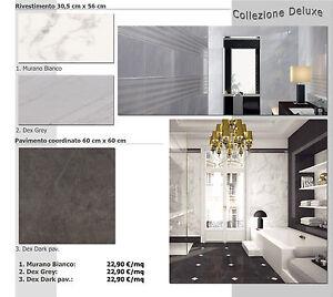 Piastrelle bagno bianco grigio marmo carrara cucina 30x56 60x60 pavimento nero ebay - Piastrelle bagno grigie ...