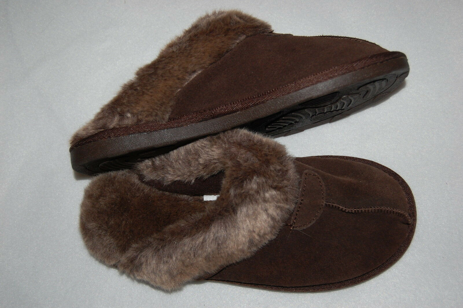 WOMENS SLIPPERS Chocolate Brown S 5-6 Upper Leather FAUX FUR Super Cushioned
