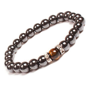 Natural-Magnetic-Hematite-Tiger-Eye-Stone-Bracelet-Healing-Power-Charm-7-5inch