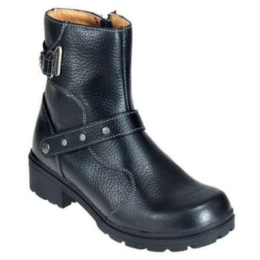 Milwaukee Ladies Delusion Black Leather Zip Motorcycle Boots MVB237