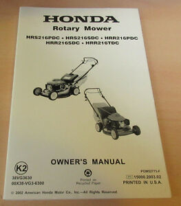 honda hrs hrr 216 pdc sdc tdc owners manual part 00x38 vg3 rh ebay ca honda lawn mower service manual honda lawn mower service manual