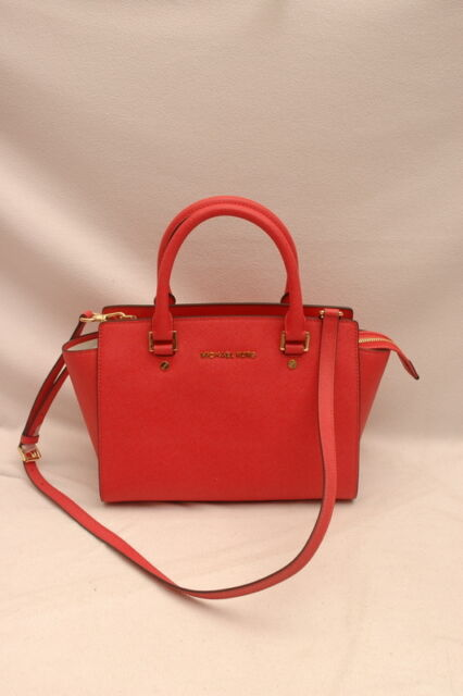 db5012e7afc4 NWT Michael Kors Selma Saffiano Leather Medium Top Zip Satchel Watermelon