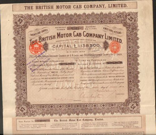 Titre 25 actions: THE BRITISH MOTOR CAB Cy (GRANDE-BRETAGNE) (O)