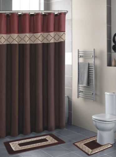 Empire Home 15-Piece Brown /& Burgundy Bathroom Set Rugs Free Shipping!