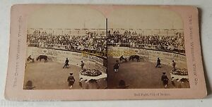 Vue-STEREO-mexicain-circa-1900-Bull-Fight-City-of-MEXICO-Arene-Tauromachie
