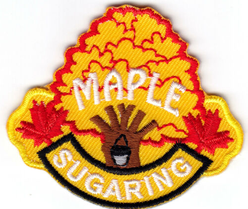 """/""""MAPLE SUGARING/""""- IRON ON EMBROIDERED  PATCH//Food Topping Words Treat"""