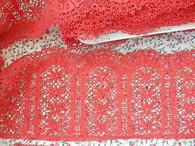 Exclusivo inglés Nottingham algodón Cluny Lace Red-patrón de la vendimia 0714