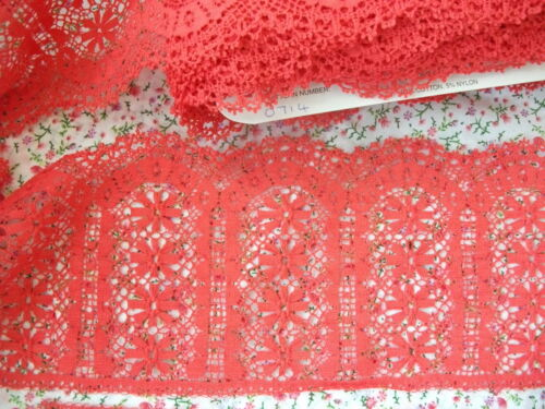 Exclusive English Nottingham Cotton Cluny Lace RED Vintage Pattern 0714