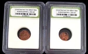 """1700 YEARS OLD COIN  """"Constantine The Great Era Roman Empire 330AD - Sealed Case"""