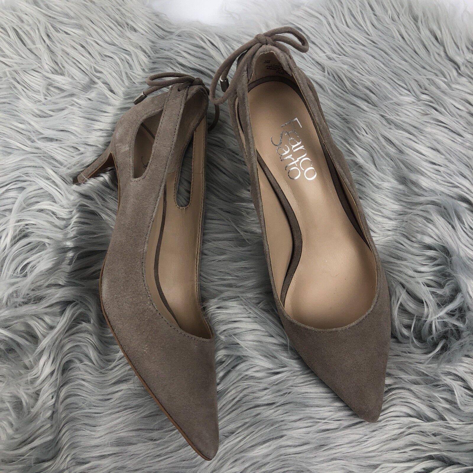 FRANCO SARTO Suede Tan Nude Suede SARTO Leather DOE Kitten Bow Heels 4 M 6f3691