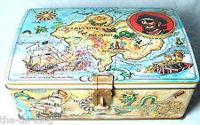 VINTAGE FIGURAL BISCUITS TIN PIRATES CHEST TREASURE SHIP MAP ALLIGATOR ISLAND