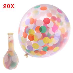 20-Pieces-Colore-Confettis-Rempli-Transparent-Ballons-Anniversaire-de-Mariage