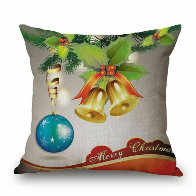 18x18 Inch Merry Christmas Xmas Gift Plaid Cushion Cover Throw New B2A0