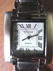 Quartz Movement Seville Silver Link Stainless Steel Square