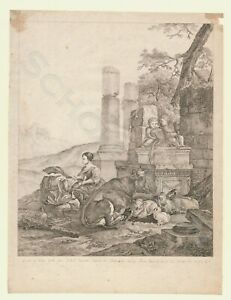 Original-Radierung-1790-Jules-Armand-Guillaume-Boucher-Heinrich-Roos-Pastorale