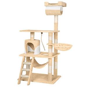 arbre chat griffoir grattoir geant avec hamac lit 141 cm hauteur beige blanc ebay. Black Bedroom Furniture Sets. Home Design Ideas