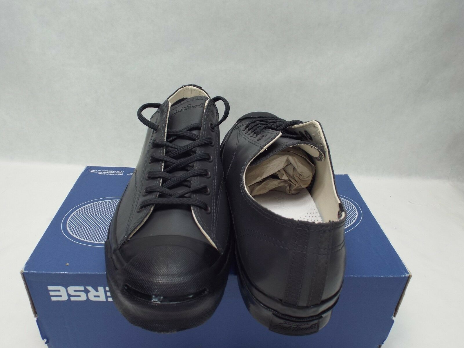 New Mens 10 Converse JP JP JP Jack Purcell OX Dark Gry Blck Leather shoes  110 147571C fa543a