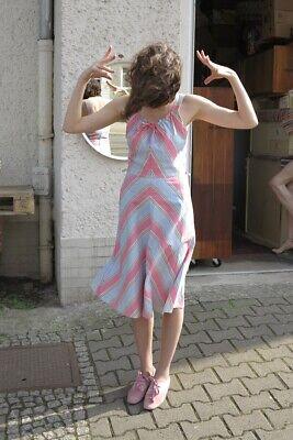 Holly 38 Donna Vestito Abito Estivo Vestito Spalline Pastello 70er True Vintage 70s Dress-