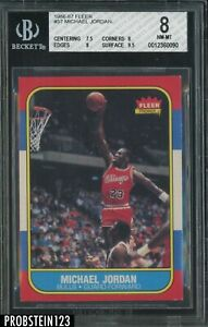 1986-87 Fleer Basketball #57 Michael Jordan Bulls RC Rookie HOF BGS 8 w/ 9.5