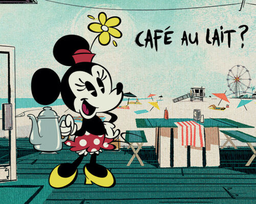 Ready Framed Canvas 40x50cm Caf̩ Au Lait? Mickey Shorts
