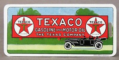 "OLD TEXACO GASOLINE /& MOTOR OIL /""THE TEXAS COMPANY/"" CELLULOID ADV BOOKMARK MINT"