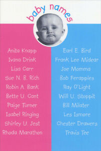Details about Baby Names Funny Birthday Card - Greeting Card by Nobleworks  by Nobleworks