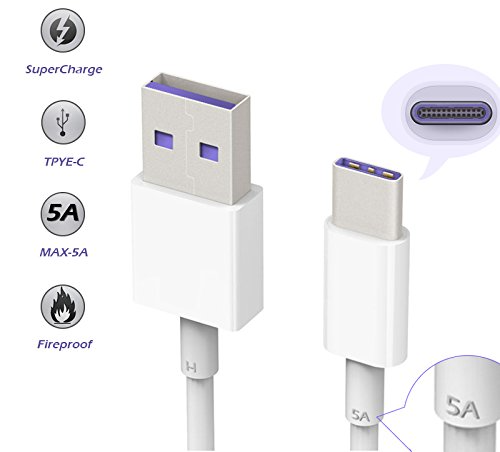WHITE 5A SUPERCHARGE USB TYPE C FAST CHARGE CABLE FOR SAMSUNG NOTE 9 N6000