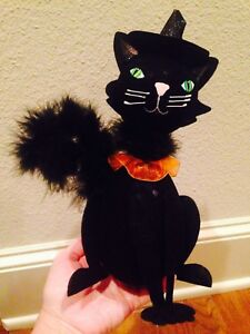 NEW-Pier-1-Imports-HALLOWEEN-Glitter-Witch-039-s-Hat-Feather-Tail-BLACK-Felt-CAT