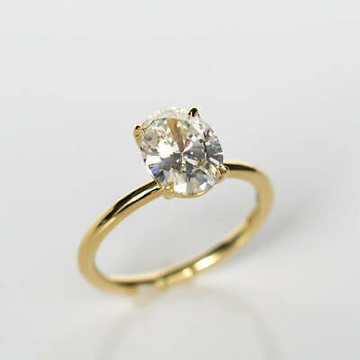 Jewelry & Watches 2.00 Ct Oval Solitaire Diamond Wedding Party Bridal Rings 14k Yellow Gold Size 7