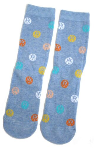 LADIES VW VOLKSWAGEN LOGO PRETTY BLUE SOCKS UK SIZE 4-8 EUR 37-42 US 6-10