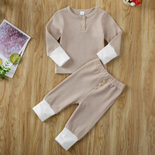 Toddler Baby Girl Boy Solid Color T-Shirt Tops Leggings Pants Knitted Outfits