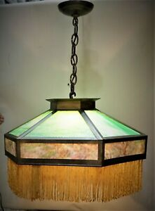 ANTIQUE-ARTS-amp-CRAFTS-MISSION-HANGING-SLAG-GLASS-CHANDELIER