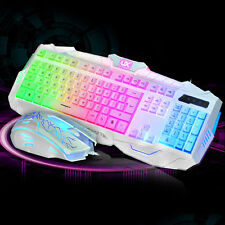 US UThink White Rainbow Backlit V100 Usb Multimedia Gaming Keyboard & Mouse Set
