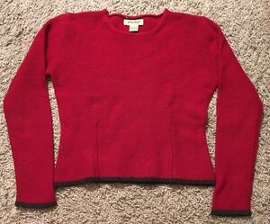 Women-039-s-Red-Eddie-Bauer-100-Lambs-Wool-Sweater-Size-M