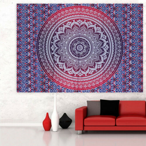 """Mandala Tapestry Indian Room Wall Hanging Nature Hippie Throw Bedspread 80/""""x59/"""""""