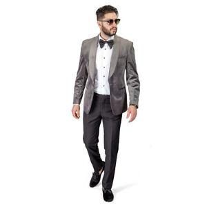 detailing special discount new style Details about GREY Shawl Lapel VELVET Jacket Slim Fit Tuxedo 1 Button Black  Pants BY AZAR MAN