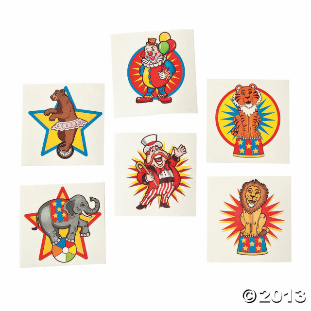 72 Birthday Party Favor CARNIVAL Big Top CIRCUS TATTOOS