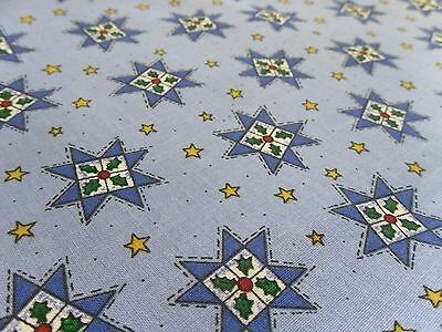 TRENA'S LITTLE BIT OF CHRISTMAS BLUE QUILTING STARS WITH HOLLY-COTTON- BTY