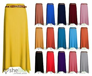 Women-Gypsy-Long-Jersey-Ladies-Plain-Belt-Flared-Elastic-Waist-Maxi-Dress-Skirt