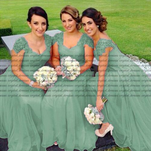 New Lace//Chiffon Formal Prom Party Ball Bridesmaid Dress Evening Dress Size 6-18