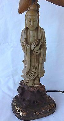 Efficient Alrededor 1900 Tallado Esteatita Kwan-yin Estatua Convertido Lámpara Excelente Other Asian Antiques