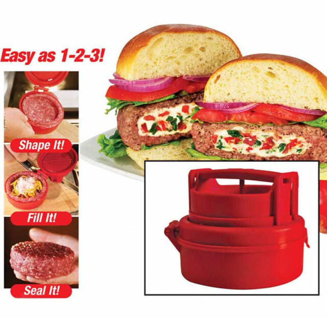 Stuffed Burger Press Hamburger Patty Maker Juicy BBQ Party Grill